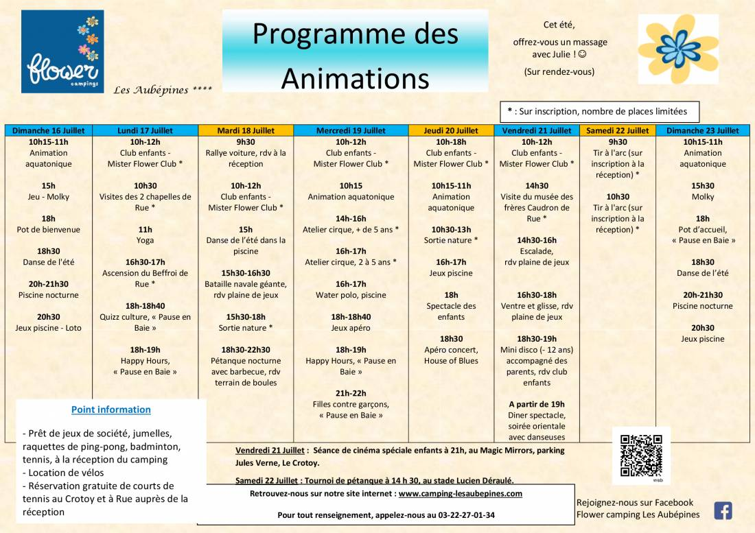 Animations Program  from 16/07 to 23/07