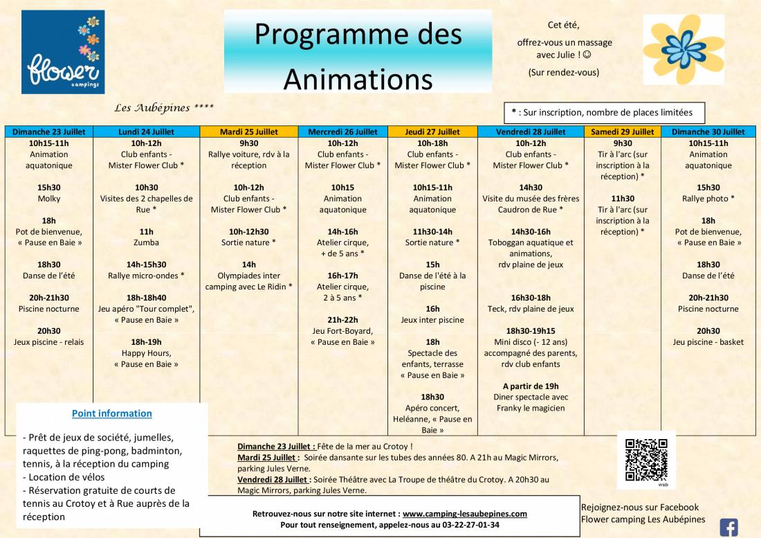 Animations program from 23/07 to 30/07