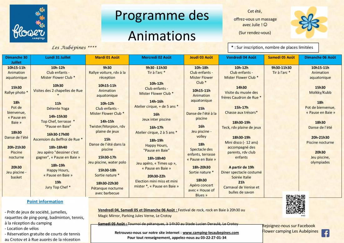 Animations Program from 30/07 to 06/08