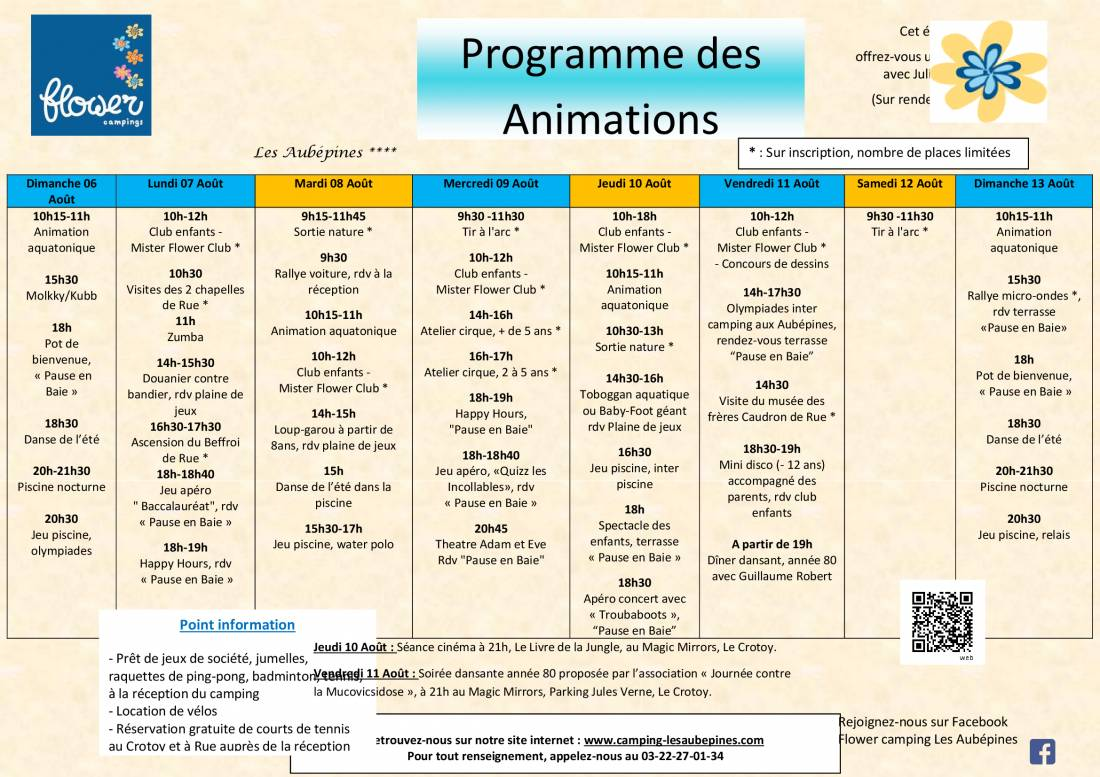 Animations Program from 06/08 to 13/08