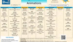 Animations program from the 13/08 to 20/08