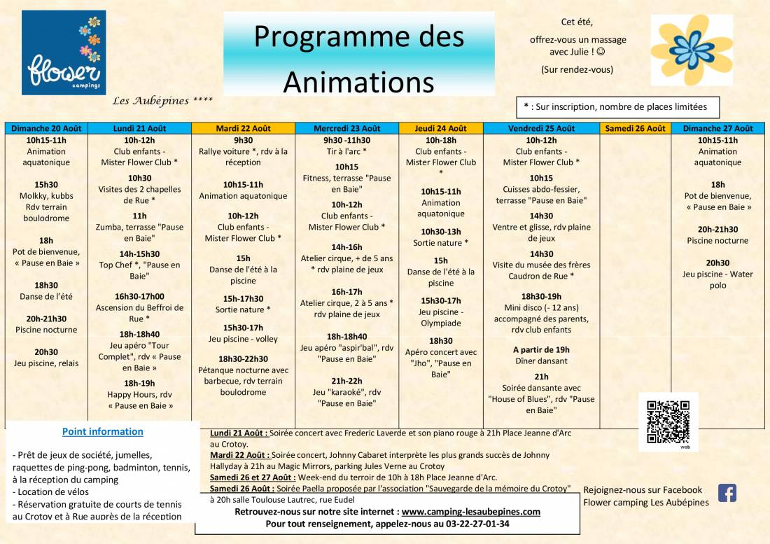 Animations Program from 20/08 to 27/08