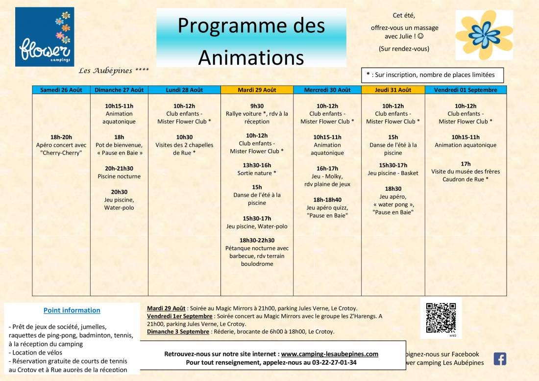 Animations program from 26/07 to 01/09